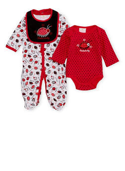 Baby Girl 3 Piece Set with Ladybug Print - 6501054733067