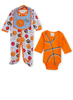 Baby Boy 3 Piece Set in Sports Print - 6501054733071