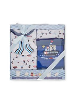 Baby Bodysuit Set with Hat Bib and Socks - 6502065180001