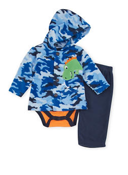 Baby Boy Three Piece Set with Camouflage Print and Dinosaur Patch - 6506004561811