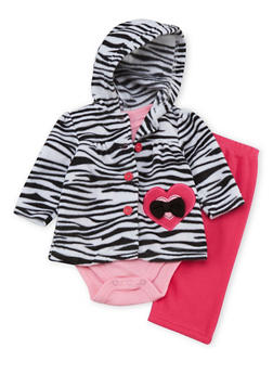 Baby Girl 3 Piece Set in Fleece with Zebra Print - 6506004561813