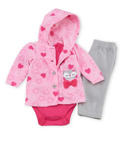 Baby Girl 3 Piece Set in Fleece - 6506004561814