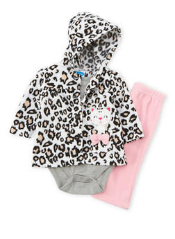 Baby Girl Bodysuit with Fleece Jacket and Pants Set - 6506004561816