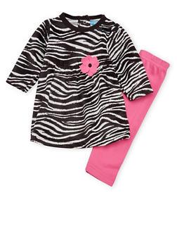Baby Girl Leggings and Zebra Print Dress Set - 6506004569961