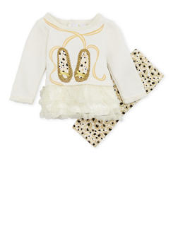 Baby Girl Graphic Leggings and Top with Tulle Trim - 6506054732733