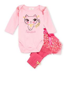 Baby Girl Graphic Bodysuit and Printed Leggings Set - 6506054732890