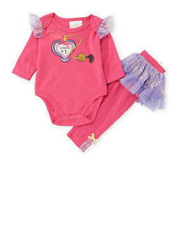 Baby Girl Bodysuit and Tutu Paneled Leggings Set - 6506054732892