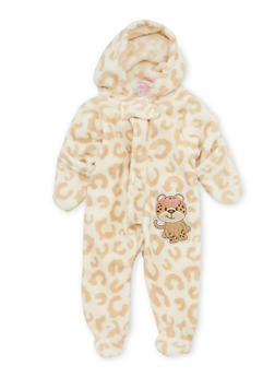 Baby Girl Fleece Footed Bodysuit with Cat Patch - 6509054732070