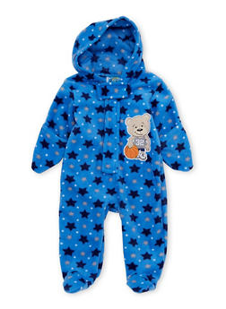 Baby Boy Fleece Footed Bodysuit with Star Print and Bear Patch - 6509054732079