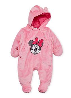 Baby Girl Minnie Mouse Footed Bodysuit in Fleece - 6509073450044