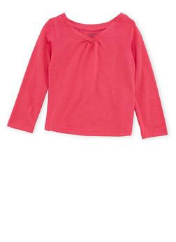 Toddler Girls French Toast Long Sleeve V Neck Tee - 6540068321004