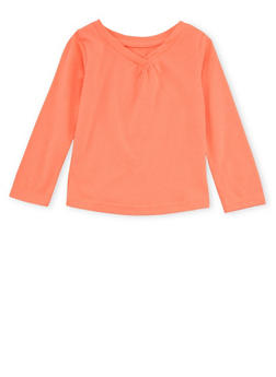 Toddler Girls French Toast V-Neck Top with Long Sleeves - 6540068321006