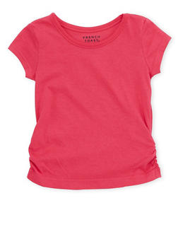 Toddler Girls French Toast Crew Neck Tee with Ruched Hem - 6540068321104