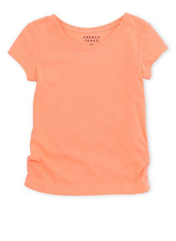 Toddler Girls French Toast Crew Neck Tee with Ruched Hem - 6540068321106