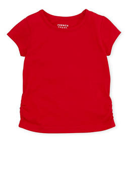Toddler Girls French Toast Crew Neck Tee with Ruched Hem - 6540068321108