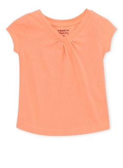 Toddler Girls French Toast Short Sleeve V Neck Tee - 6540068321156