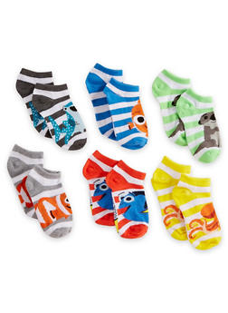Girls 4-6x Set of 6 Disney Finding Dory Ankle Socks - 6564059220601
