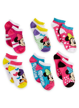 Girls 4-6 Set of 6 Minnie Mouse Ankle Socks - 6564059220620