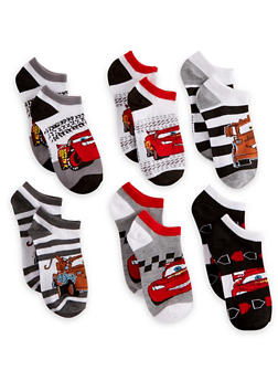Boys 6-8 Set of 6 Pixar Cars Ankle Socks - 6565059220121