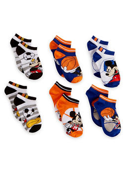 Boys 4-6 Set of 6 Mickey Mouse Ankle Socks - 6565059220130