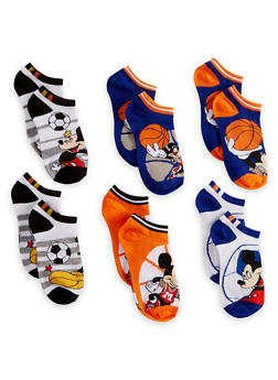 Boys 6-8 Set of 6 Mickey Mouse Ankle Socks - 6565059220131