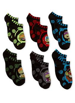 Boys 6-8 Ninja Turtles Set of 6 Ankle Socks - 6565059220141
