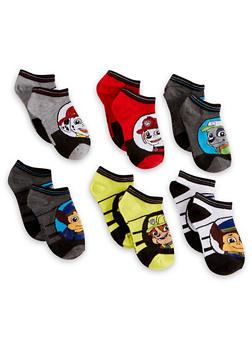 Boys 6-8 Set of 6 Paw Patrol Ankle Socks - 6565059220151