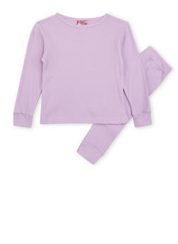 Girls 4-6x Thermal Top and Pants Set - LAVENDER - 6566054730003