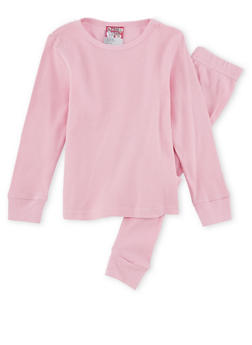 Girls 4-6x Thermal Top and Pants Set - PINK - 6566054730003