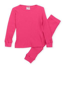 Girls 4-6x Thermal Top and Pants Set - FUCHSIA - 6566054730003