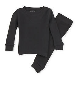 Boys 4-7 Thermal Top and Pants Set - BLACK - 6566054730012