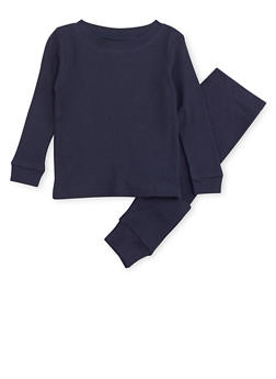 Boys 4-7 Thermal Top and Pants Set - NAVY - 6566054730012