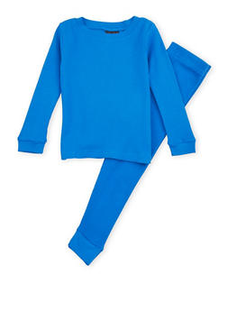 Boys 4-7 Thermal Top and Pants Set - BLUE - 6566054730012