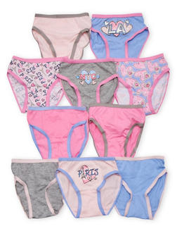 Toddler Girls Set of 10 Pastel City Graphic Panties - 6567054730006