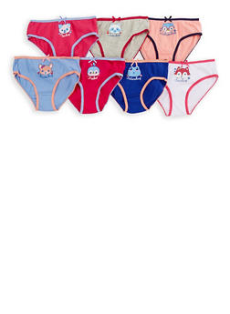 Girls 4-16 Animal Days of the Week Panties 7 Pack - 6568035160051