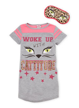 Girls 4-14 Woke Up with Cattitude Nightgown with Mask - HEATHER - 6568054730060