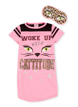 Girls 4-14 Woke Up with Cattitude Nightgown with Mask - BLACK/PINK - 6568054730060