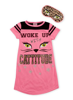 Girls 4-14 Woke Up with Cattitude Nightgown with Mask - 6568054730060