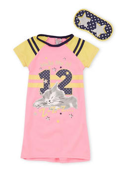 Girls 4-14 Wake Me at 12 Graphic Nightgown with Mask - PINK - 6568054730061