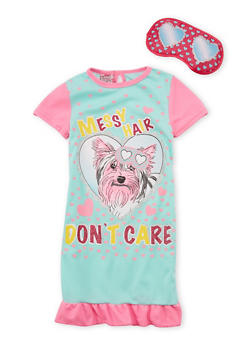Girls 4-14 Messy Hair Dont Care Dog Nightgown with Mask - MINT - 6568054730062