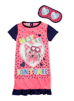 Girls 4-14 Messy Hair Dont Care Dog Nightgown with Mask - FUCHSIA - 6568054730062