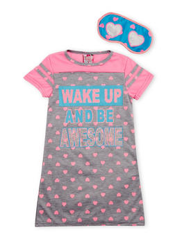 Girls 4-16 Wake Up and Be Awesome Graphic Nightgown with Sleep Mask - 6568054730063