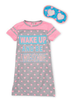Girls 4-16 Wake Up and Be Awesome Graphic Nightgown with Sleep Mask - GREY MULTI - 6568054730063