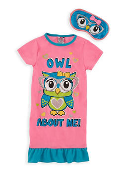 Girls 4-14 Owl Nightgown with Eye Mask - 6568054730064