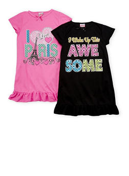Girls 4-14 Short Sleeve Graphic Nightgown Set of Two - 6568054730070