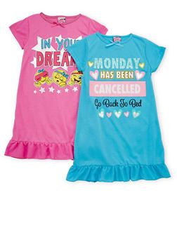 Girls 4-14 Short Sleeve Graphic Nightgown Set of Two - 6568054730071