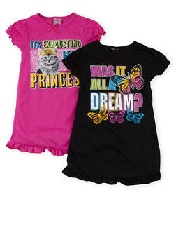 Girls 4-14 Ruffled Graphic Nightgown Set of 2 - 6568054730072