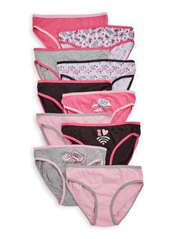 Girls 7-16 Set of 10 Contrast Trim Panties - 6568054730119