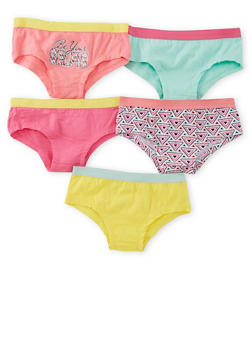Girls 4-16 Pack of 5 Assorted Panties - 6568054730131