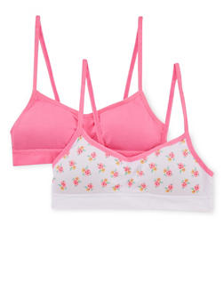 Girls 4-16 Padded Bras 2 Pack in Solid and Floral - 6568054730202